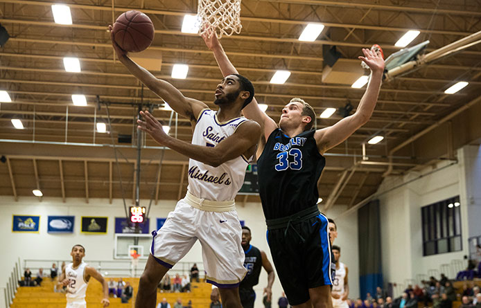 Men's Basketball Yields Late Run to Regionally-Ranked Bentley in NE10 Setback
