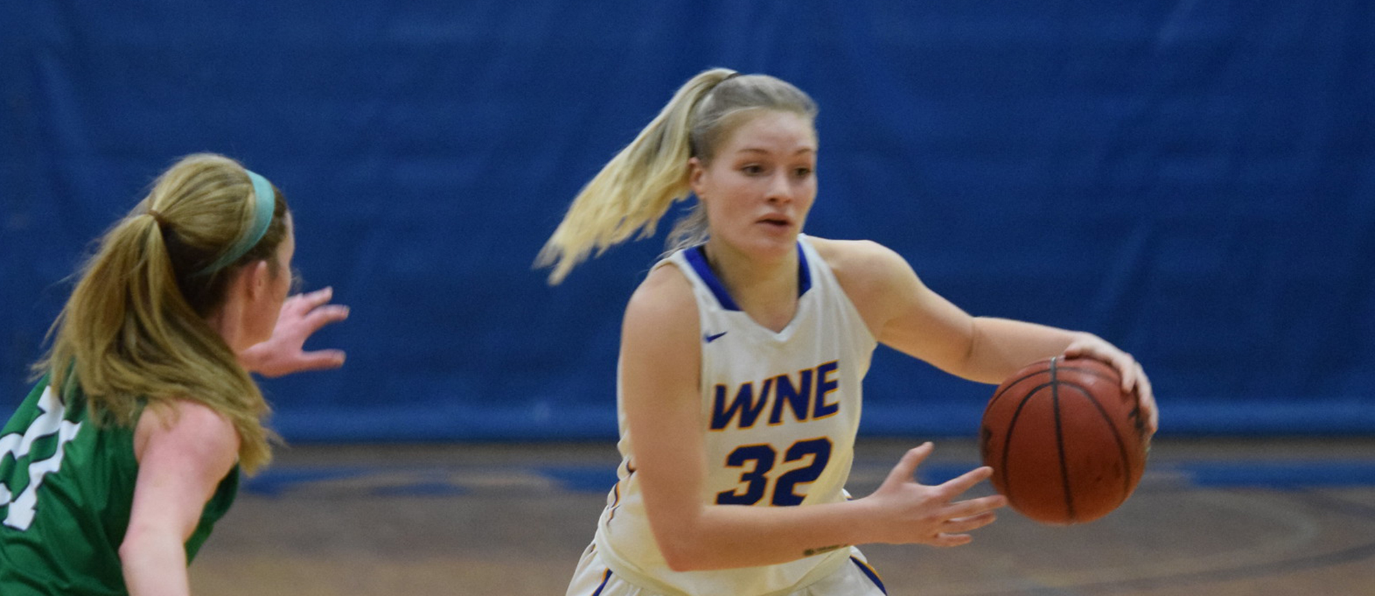 Courtney Carlson scored 22 points in the win over Endicott on Saturday. (Photo by Rachael Margossian)