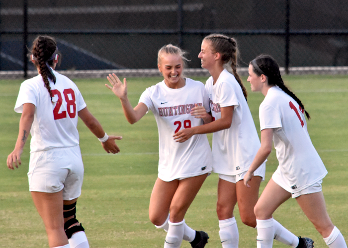 Freshman Skye Paradise (#29) is congratulated after a goal in Friday's win over Talladega.