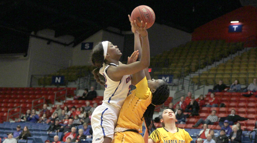 Jada Mickens collects 15 points and eight rebounds in No. 4 Hutchinson's 87-56 victory over Garden City on Wednesday at the Sports Arena. (Bre Rogers/Blue Dragon Sports Information)