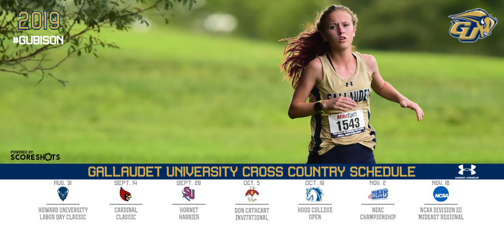 2019 Gallaudet Women's Cross Country Schedule graphic listing the seven events the Bison will run in this season