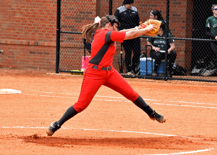 Lauren Melton pitched an eight-inning shutout in Game 2 of a doubleheader with Brevard on Sunday.