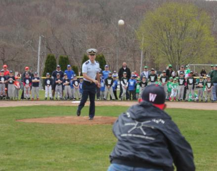 Spangler Throws Out First Pitch at Waterford North Opening Day