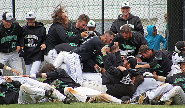 Copyright 2017; Wilmington University. All rights reserved. Photo of the walk-off celebration on Saturday, taken by Frank Stallworth.