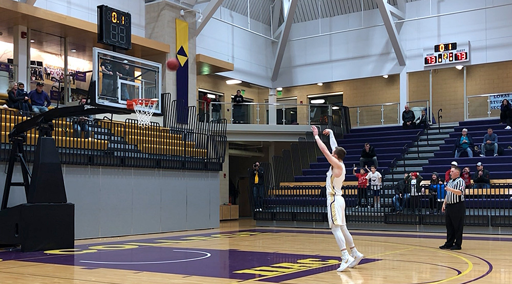 Ryan DiCanio cans two free throws with time expired to lift Loras past No. 3 Augustana. (Loras athletics photo)