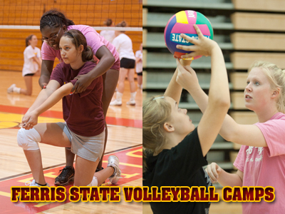 Ferris State's volleyball summer camps continue to shine bright in the eyes of its participants.  (Photos by Ed Hyde)