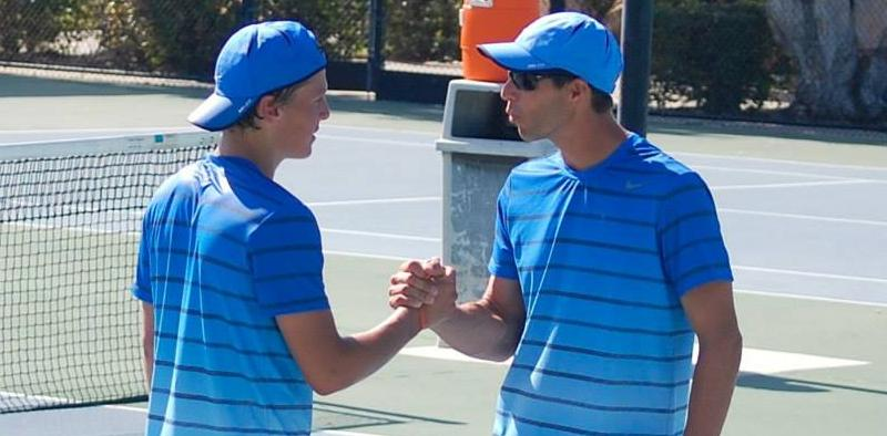 Men's tennis team one win away from perfect conference season