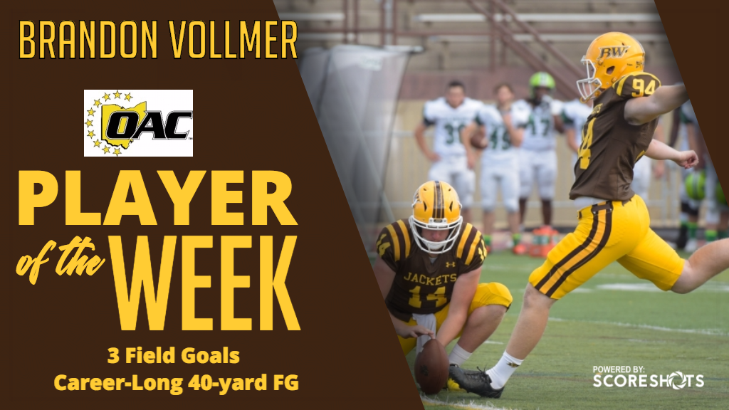 Vollmer Earns First Career OAC Football Special Teams Player of the Week Honor