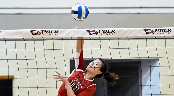 Yue Wu has earned NJCAA Division I Volleyball Player of the Week . (Photo by Tom Hagerty, Polk State.)