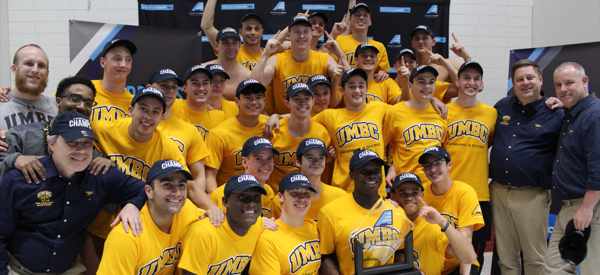CHAMPIONS!: The UMBC men's swimming and diving team took home the America East title for the 2017-18 season.