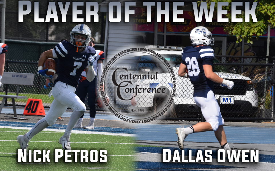 Nick Petros and Dallas Owen earn Centennial Conference Offensive and Defensive Athlete of the Week honors
