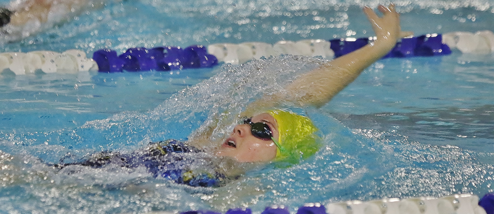 Junior Kayla Snider won three events on Saturday as the Golden Bears dropped their dual meet opener to Babson, 152-105.