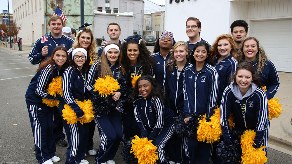 ICC Cheer marches in Veteran's Day Parade