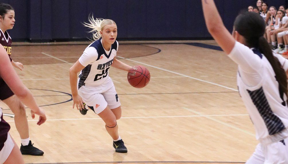 Freshman Melissa Simmons scored 15 points and hit four 3-pointers off the bench as the No. 9 ranked Aztecs women's basketball team beat United Tribes Technical College 83-50. The Aztecs finished 3-0 for the Bruce Fleck Classic. Photo by Stephanie Van Latum