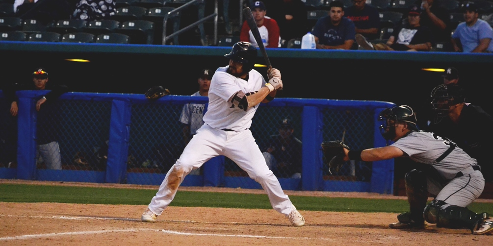 Sophomore Erick Migueles (Canyon del Oro HS) hit two home runs with three RBIs but the Aztecs dropped a pair of games at Arizona Western College on Saturday in Yuma. Pima now 17-25 overall and 8-22 in ACCAC play. Photo by Ben Carbajal.