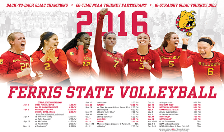 2016 Ferris State Women's Volleyball Yearbook