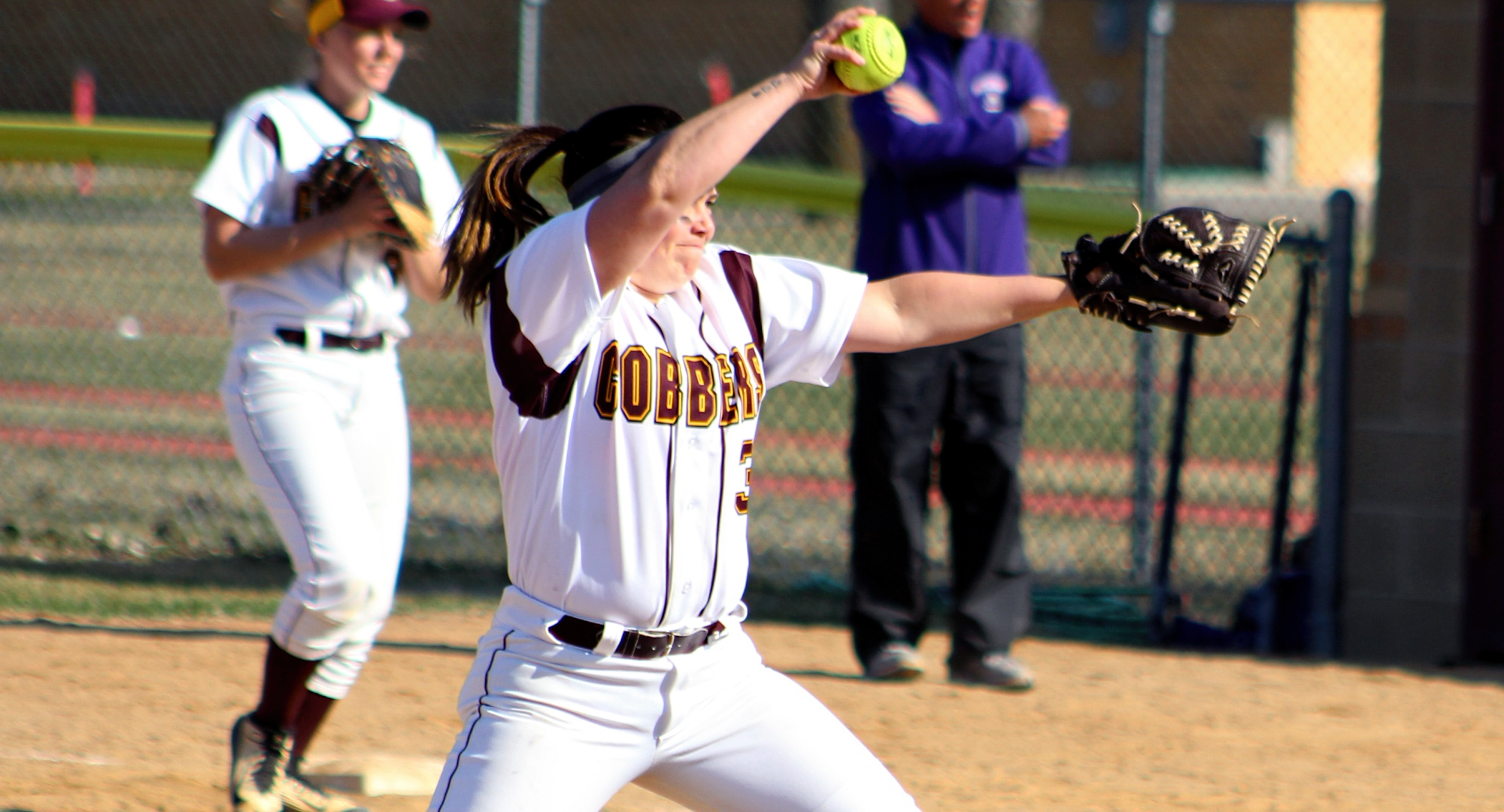 Sophomore Lexi Olek gets ready to throw a pitch in the first game of the Cobbers' DH with St. Thomas. She pitched 3.0 scoreless innings in her first college pitching experience of her career.