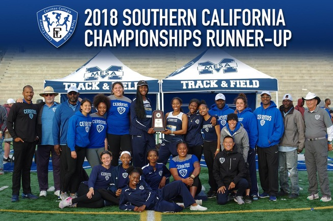 Cerritos women's track and field placed second at the SoCal Championships