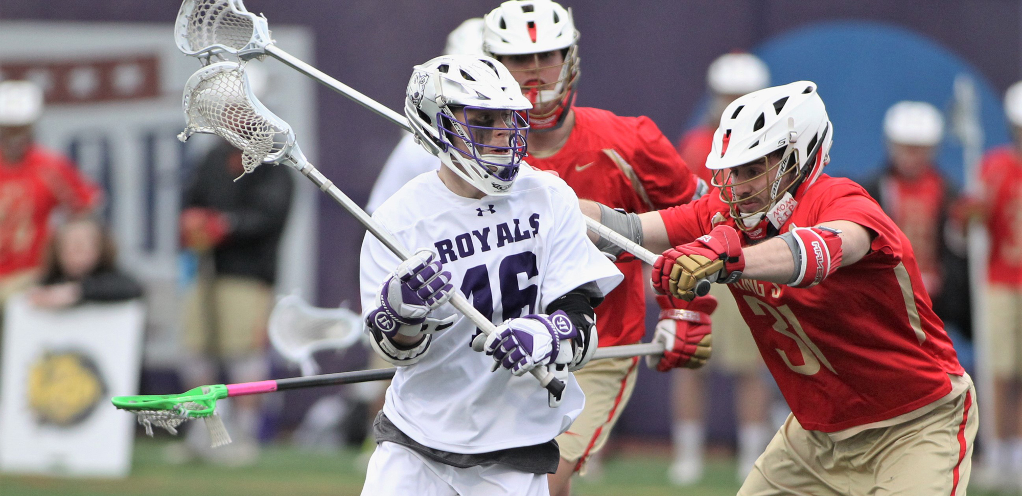 Junior Michael Elefonte scored a career-high five goals in Scranton's 11-8 loss to DeSales on Thursday. © Photo by Timothy R. Dougherty / doubleeaglephotography.com