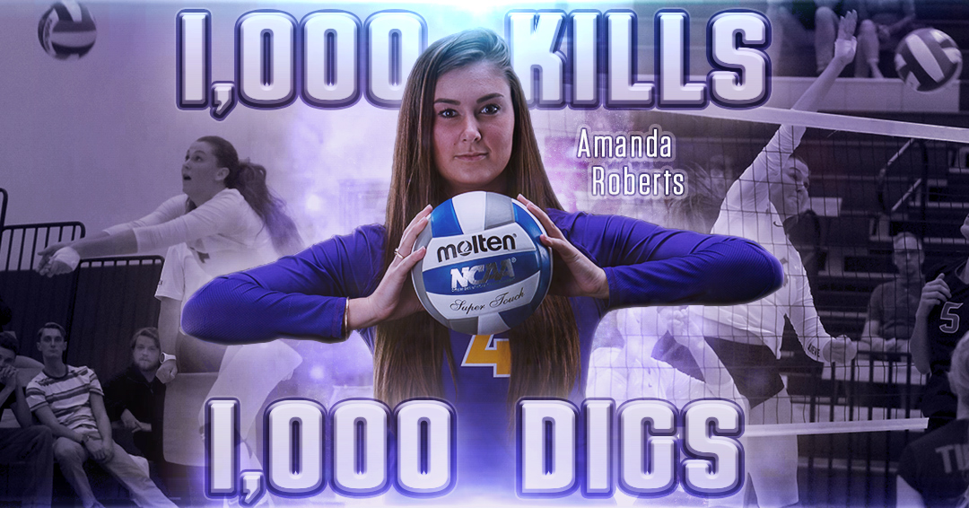 Roberts Joins 1,000 Kills/1,000 Digs Club