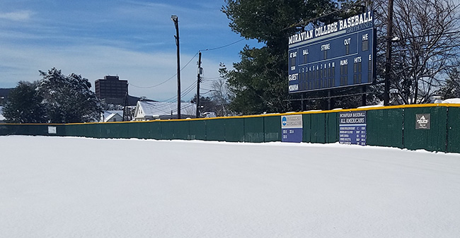 Gillespie Field under snow after a winter storm in March 2018.