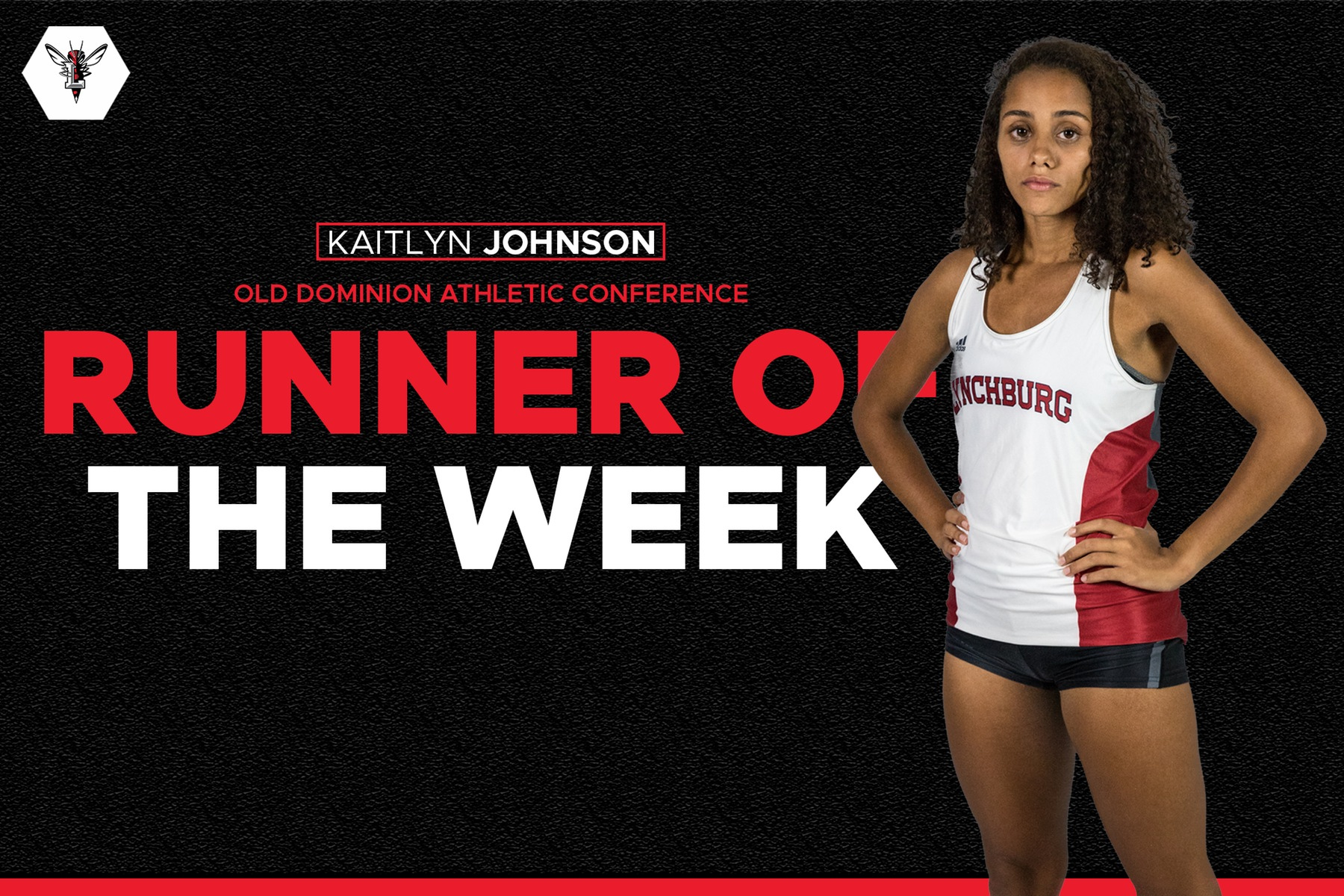 Photo of Kaitlyn Johnson standing with hands on her hips over black background. Text: ODAC runner of the week
