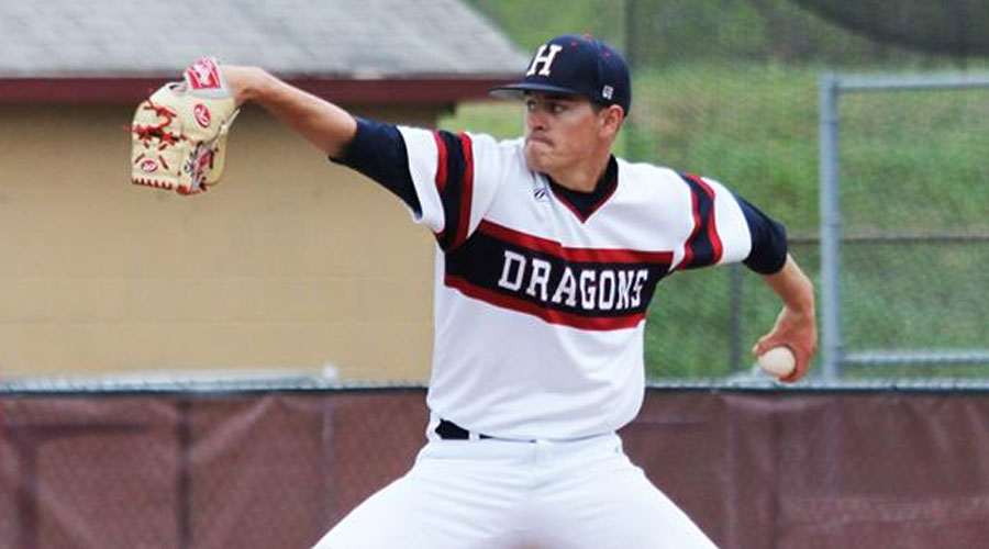 Brian Skillman works six clutch innings in a spot start as the Blue Dragons rally for a split with Cloud County on Friday, winning Game 2 6-3 after dropping the opener 9-7 on Thursday. (Bre Rogers/Blue Dragon Sports Information)