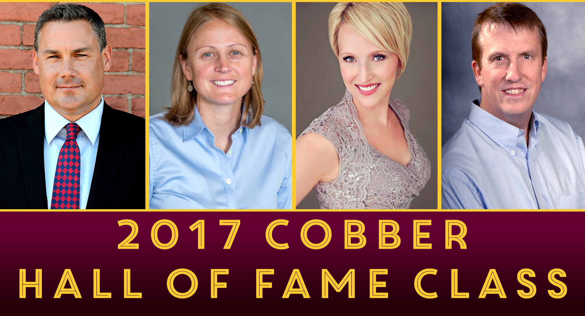 The 2017 Concordia Hall of Fame inductees are (L-R): Tory Langemo '97, Shana Letnes Erickson '01, Brandi (Myers) Rostad '02 and Jim Cella