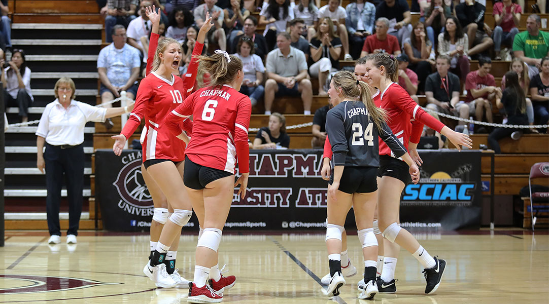 The team celebrates a point on the court.