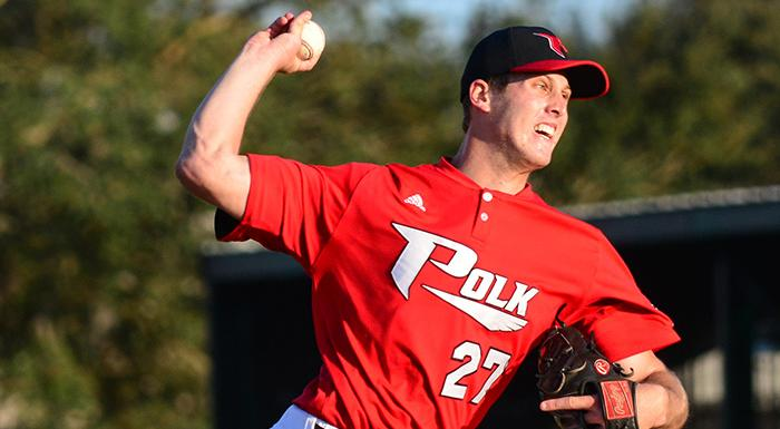 Brad Labozetta was named NJCAA Division i Pitcher of the Week. (Photo by Tom Hagerty, Polk State.)