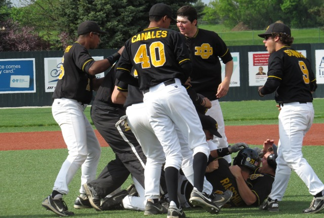 The baseball team mobs junior Anthony Raschilla after his walkoff basehit against Lake Erie. (Photo courtesy Mr. Jeff Ligney, GLIAC Office)