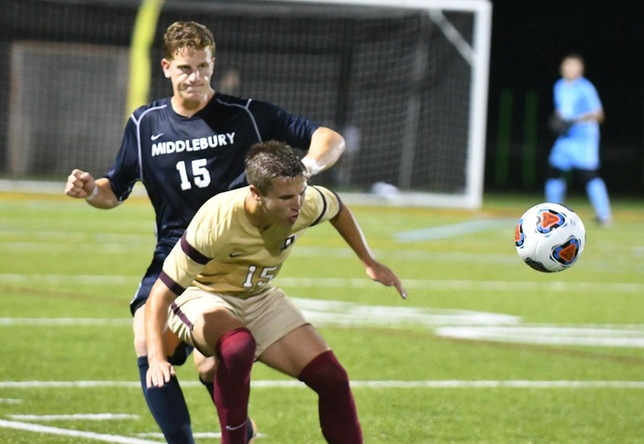 Luke Gleadle men's soccer action vs. Middlebury