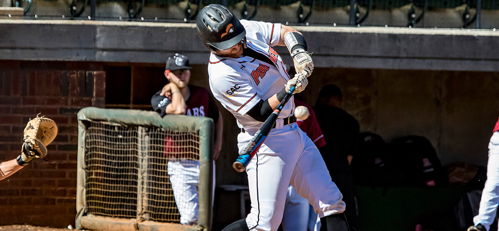 Nate Montgomery posted seven RBI in Tusculum's DH sweep of Lenoir-Rhyne (photo by Chuck Williams)