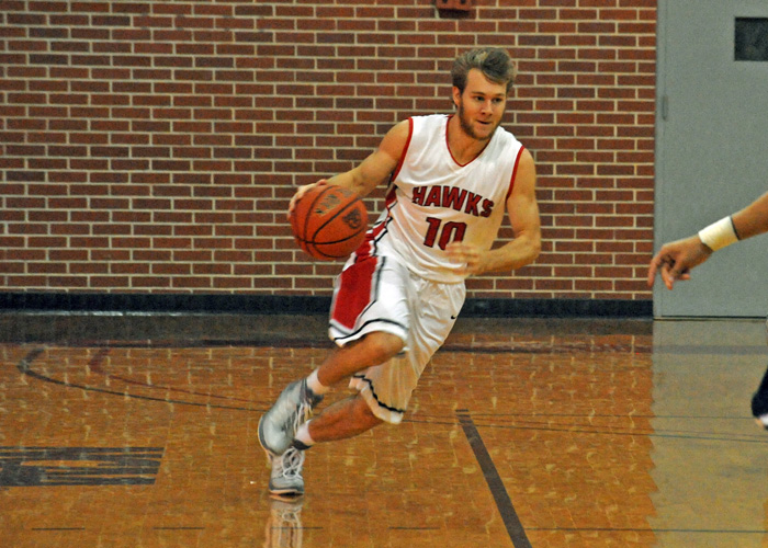 Alex Layson scored 16 points in the Hawks' 81-69 loss to Piedmont on Saturday. (Photo by Wesley Lyle)