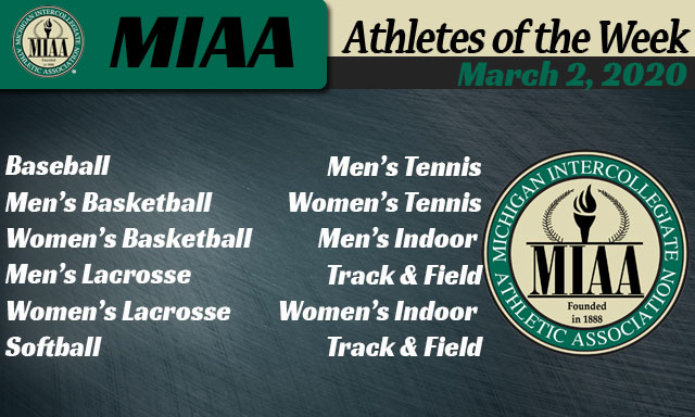 MIAA Athletes of the Week - March 2, 2020