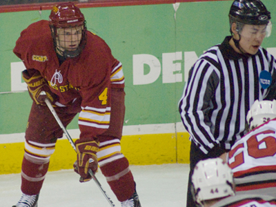 Chad Billins' two power-play goals lead Ferris State to a 4-1 win in its season opener.