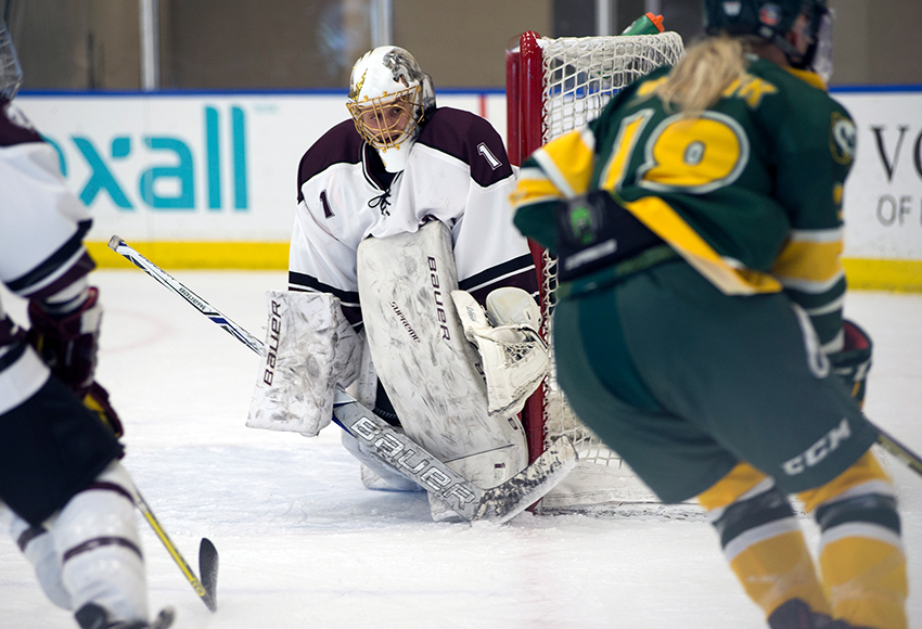 MacEwan Griffins goaltender Sandy Heim stares down the U of A Pandas attack during preseason action against them last year. The Griffins will host the Pandas on Friday (4 p.m., Downtown Community Arena) (Len Joudrey photo).