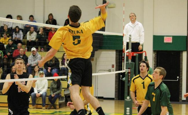 Sophomore Tom Campbell recorded 18 kills in two matches as the Keuka College men's volleyball team finished 2-1 at the inaugural Keuka College Men's Invitational (photo courtesy of Carly Volante, Keuka College Sports Information Department).