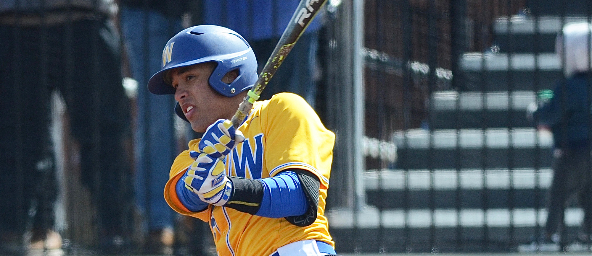 Senior Aaron Rios recorded a two-run double in Western New England's 6-5 loss to Suffolk on Wednesday. (Photo by Jim Balderston)