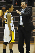 Head coach Phil Stern and sophomore guard Kristin Coles