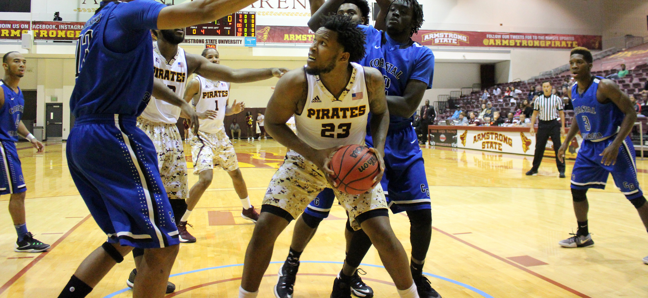 Double-Doubles Help Pirates Knock Off Georgia College, 69-64, On Saturday