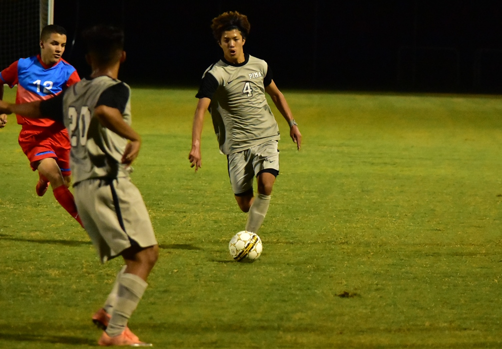 Freshman Hugo Kametani scored two goals for the Aztecs in their 5-0 shutout victory over Chandler-gilbert Community College. The Aztecs are now 13-1-3 on the season and are 11-0-2 in their last 13 games. Photo by Ben Carbajal.