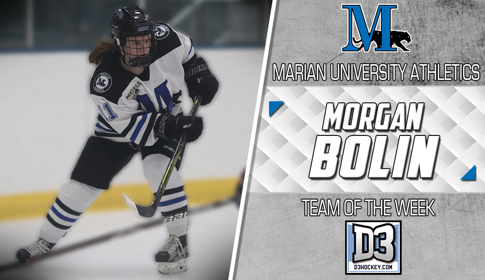 Morgan Bolin D3Hockey.com Team of the Week graphic.