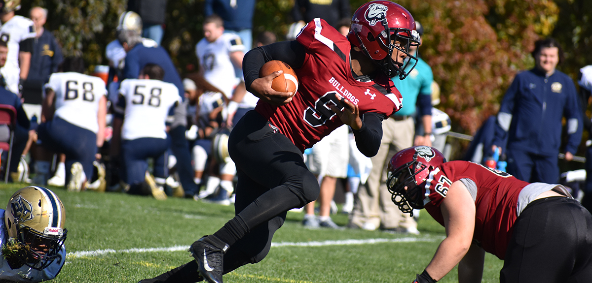 DeAndre Grange has three 100+ yard rushing performances in his last four games, including a career-high 137 yards in the 53-21 win over Gallaudet University on Homecoming (Nathan Minese photo).