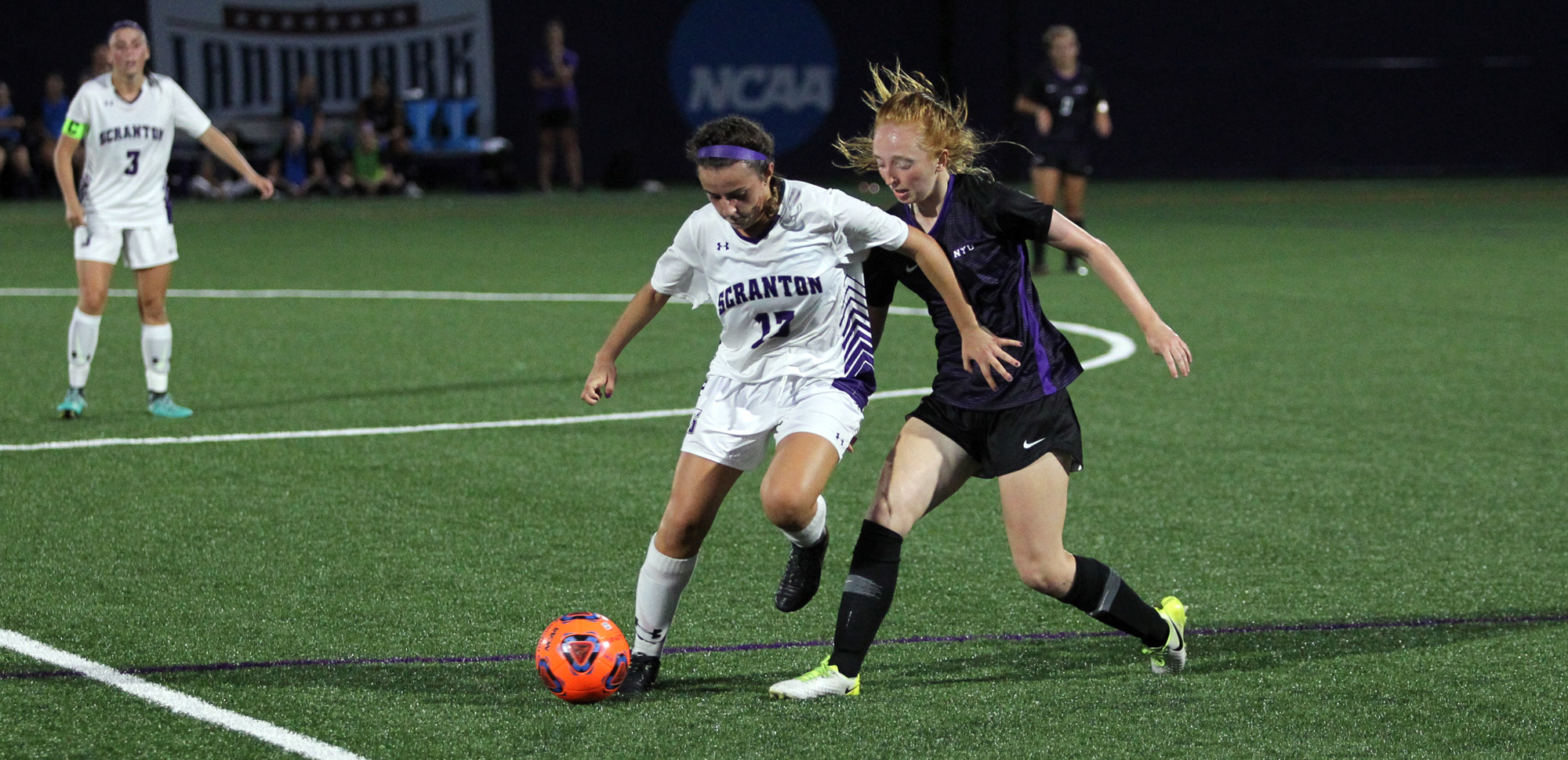 Sophomore Callie Deola picked the right time to score her first career goal Wednesday night at NYU, as her tally in the 68th minute was the difference in a 2-1 win for the women's soccer team.