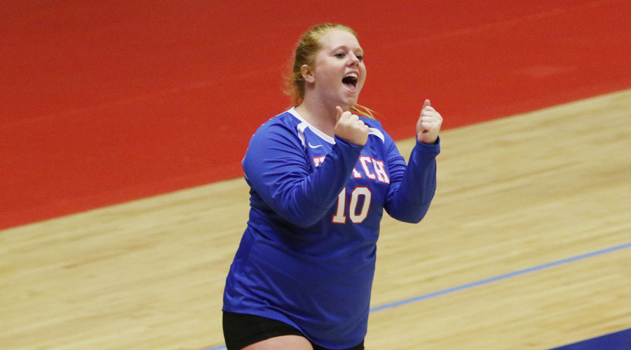 Kelsey Mulligan reacts as the Blue Dragon Volleyball team swept No. 6 Indian Hills on Friday in the Midwest Superstore/Blue Dragon Volleyball Classic at the Sports Arena. (Joel Powers/Blue Dragon Sports Information)