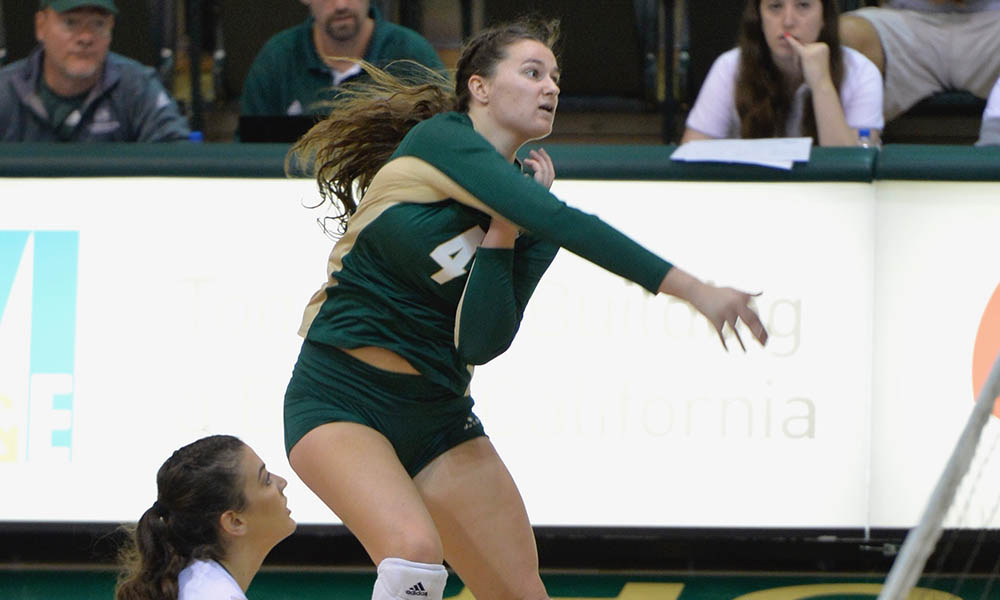 VOLLEYBALL JUMPS OUT TO 2-0 LEAD, BUT FALLS AT MONTANA, 3-2, IN BIG SKY OPENER