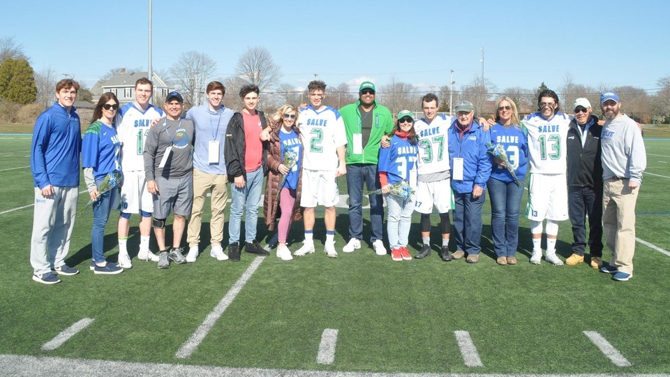 Vincent Bruno, Dakotah Jones, Mike Mongelli, and Dana Sundell comprise the Seahawks Class of 2019 and were joined by friends and family on the field for a special pregame ceremony commemorating their time at Salve Regina.