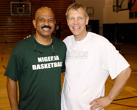Nigeria coach John Lucas with Gallaudet women's basketball coach Kevin Cook