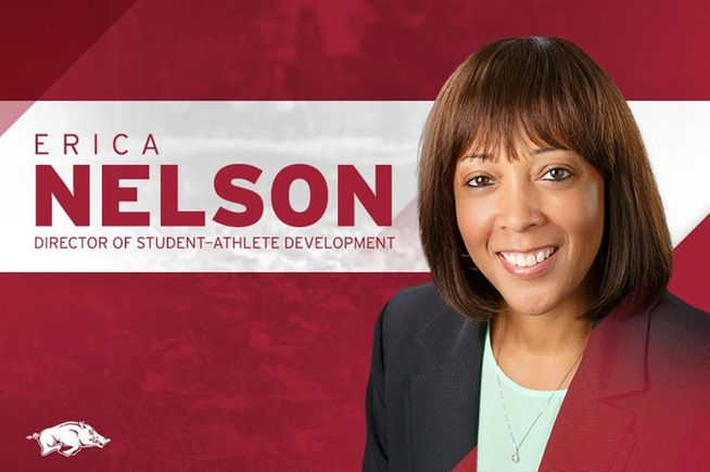 Former Cerritos basketball Erica Nelson was hired at the University of Arkansas